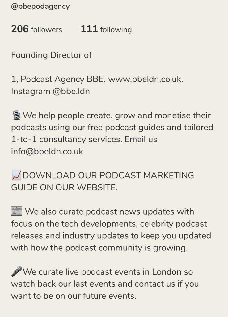 BBE podcast agency