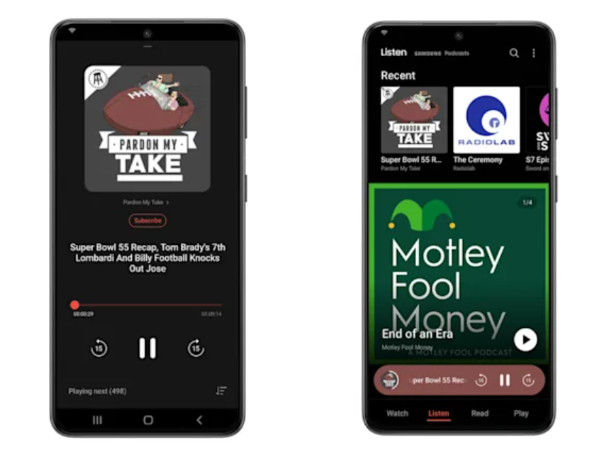 samsung podcasts to their free app