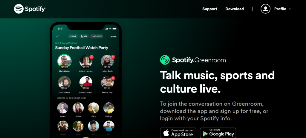 Spotify audio Greenroom